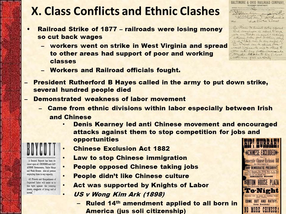 X. Class Conflicts and Ethnic Clashes