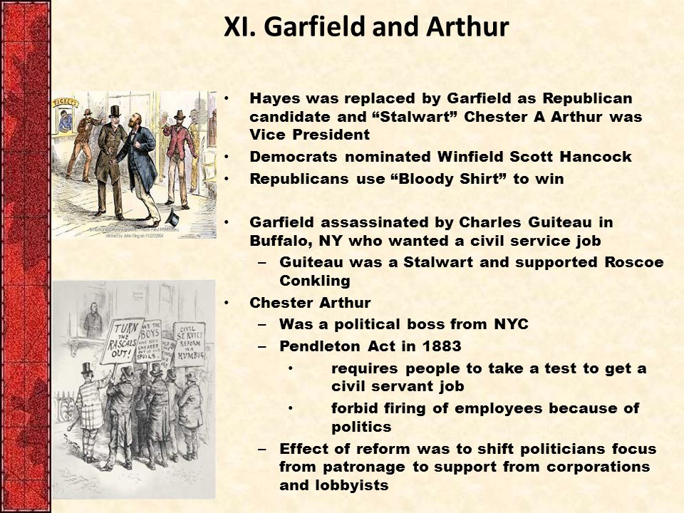 XI. Garfield and Arthur Hayes was replaced by Garfield as Republican candidate and Stalwart Chester A Arthur was Vice President.