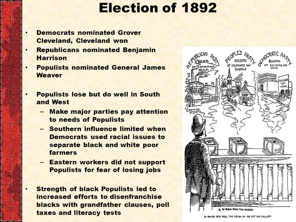Election of 1892 Democrats nominated Grover Cleveland, Cleveland won