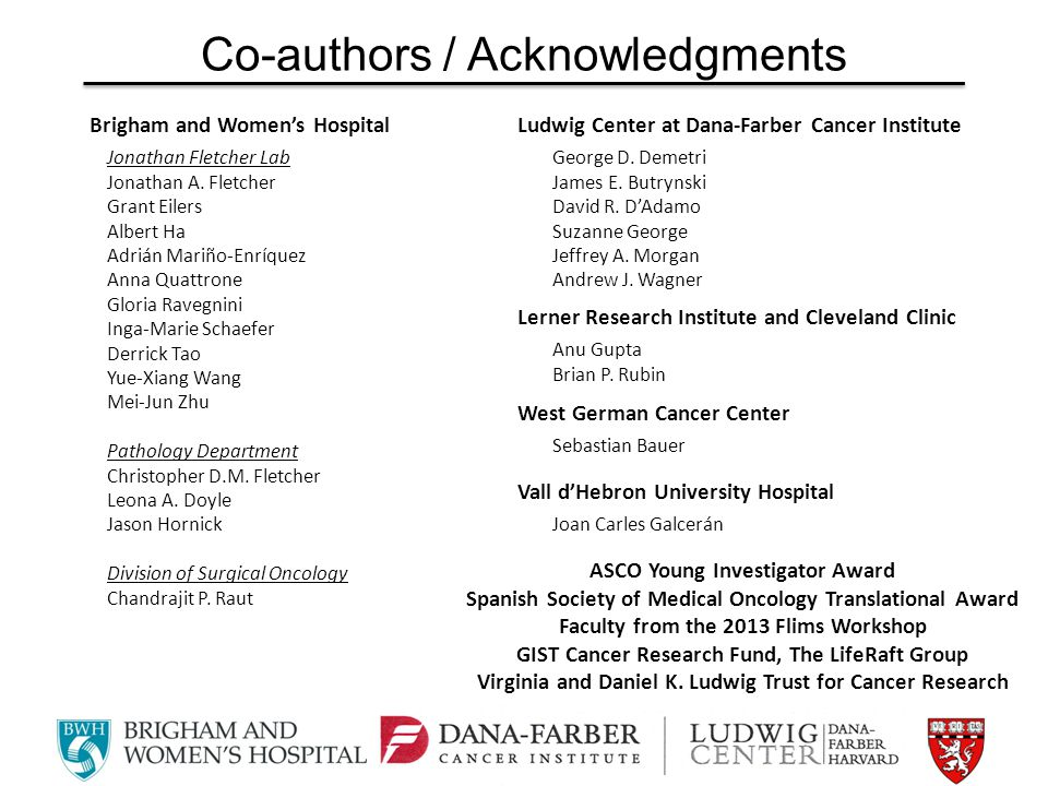 Co-authors / Acknowledgments