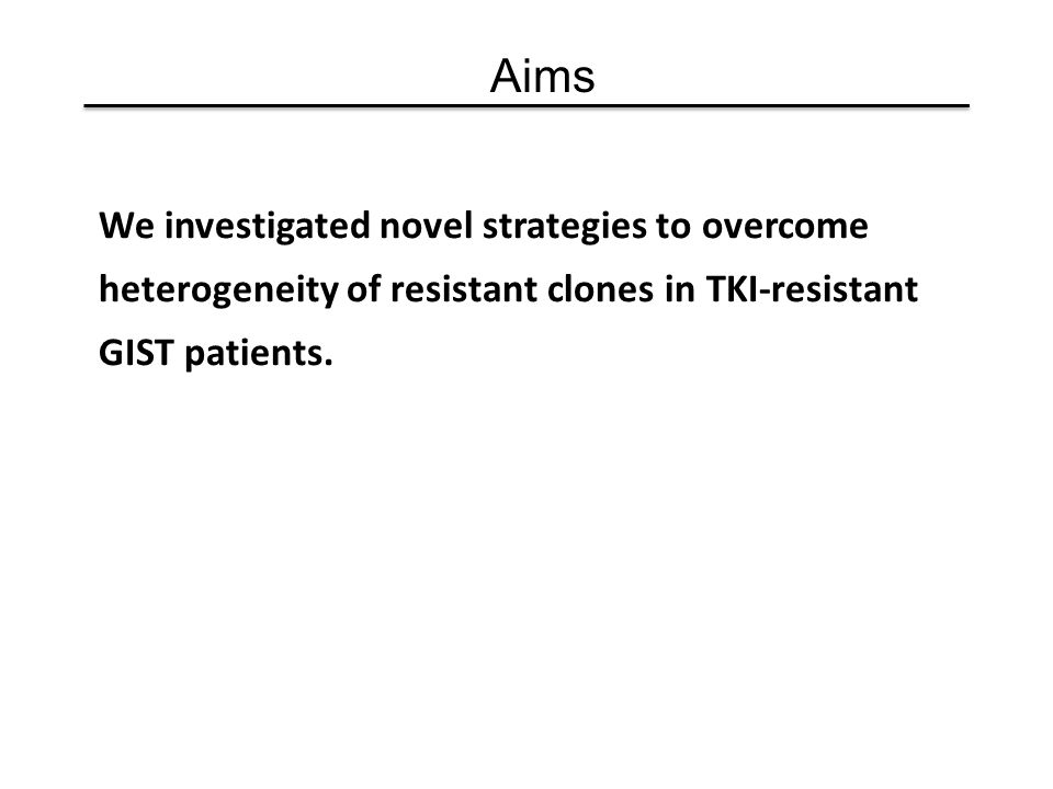 Aims We investigated novel strategies to overcome heterogeneity of resistant clones in TKI-resistant GIST patients.