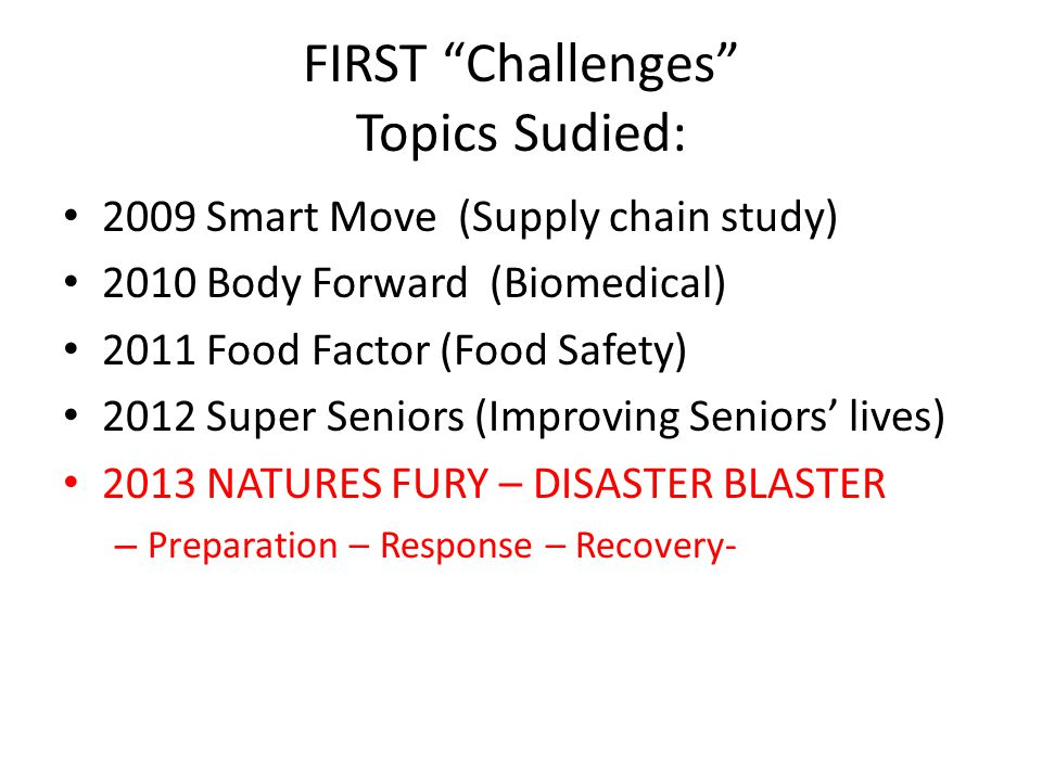 FIRST Challenges Topics Sudied:
