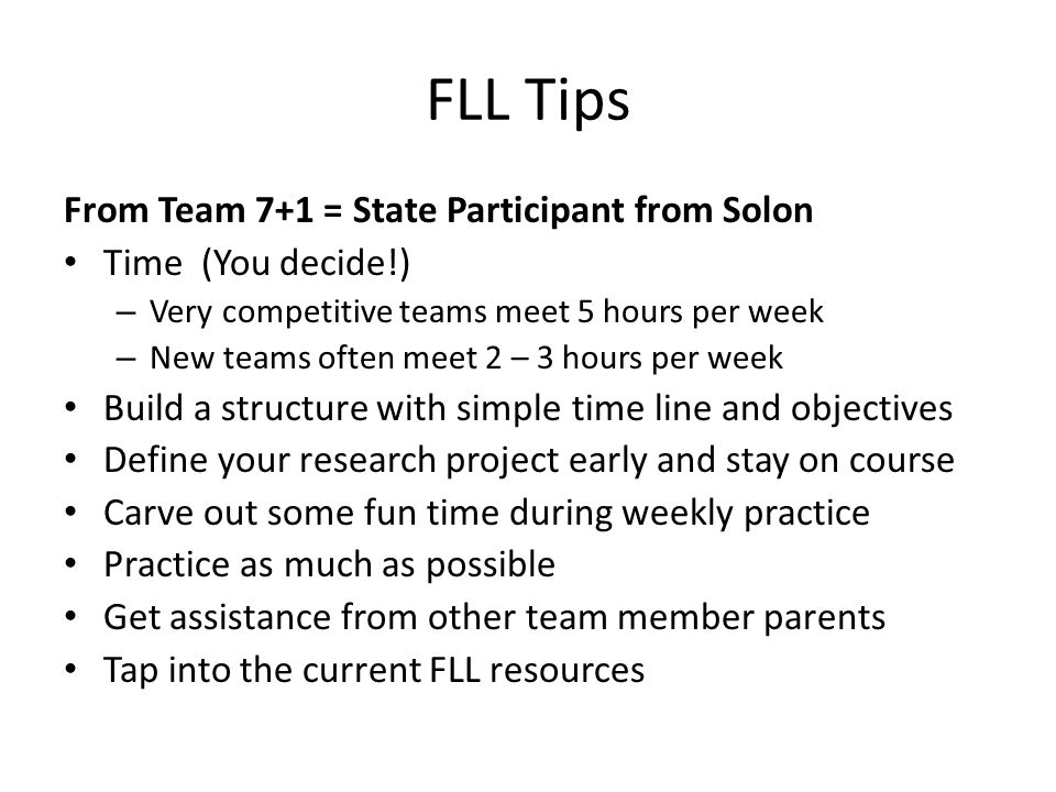 FLL Tips From Team 7+1 = State Participant from Solon