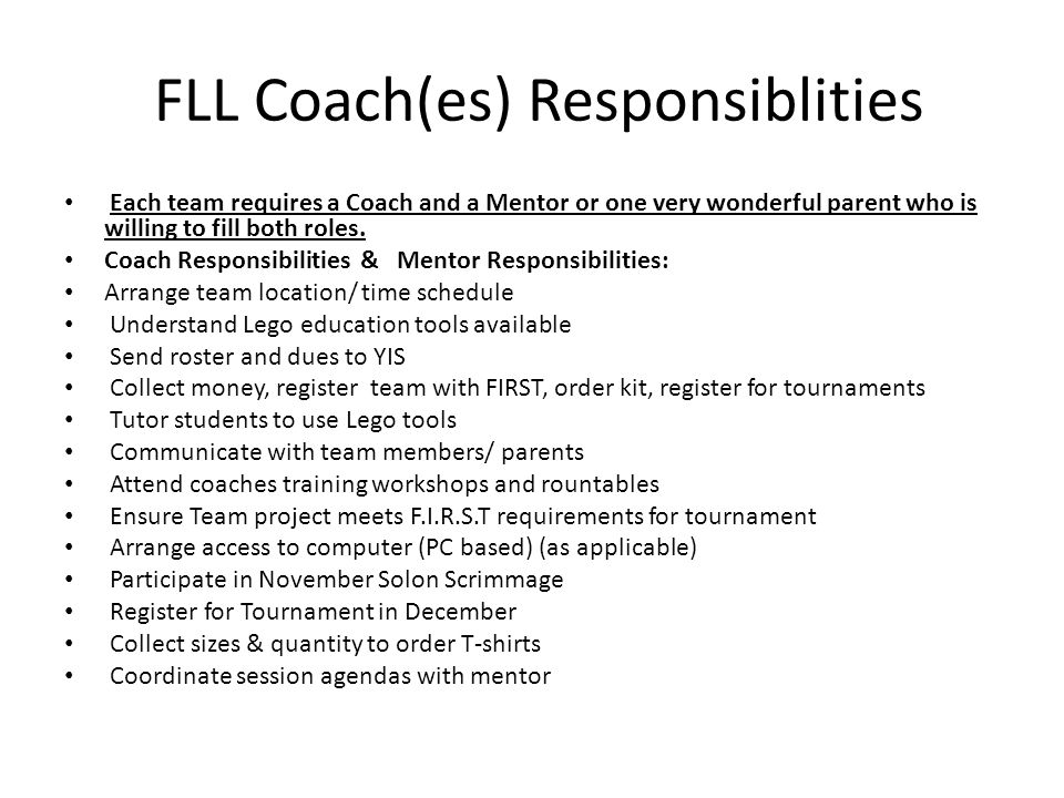 FLL Coach(es) Responsiblities