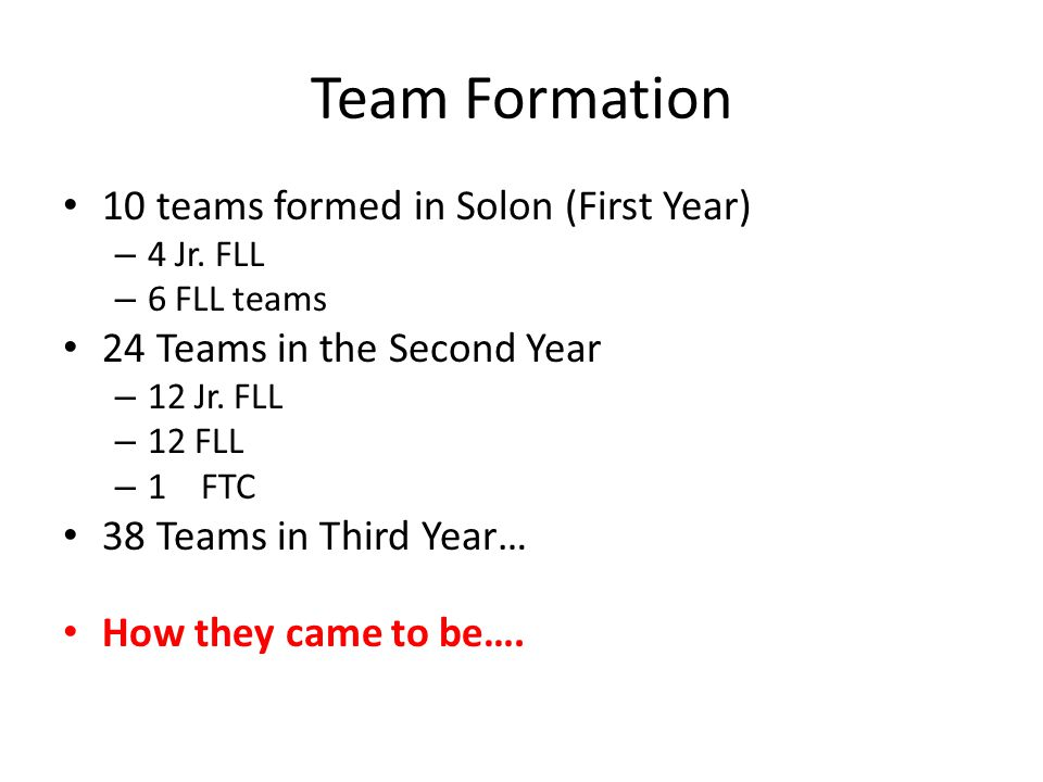 Team Formation 10 teams formed in Solon (First Year)
