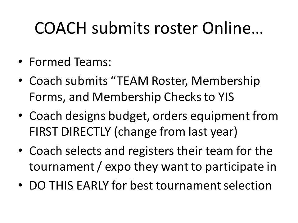 COACH submits roster Online…