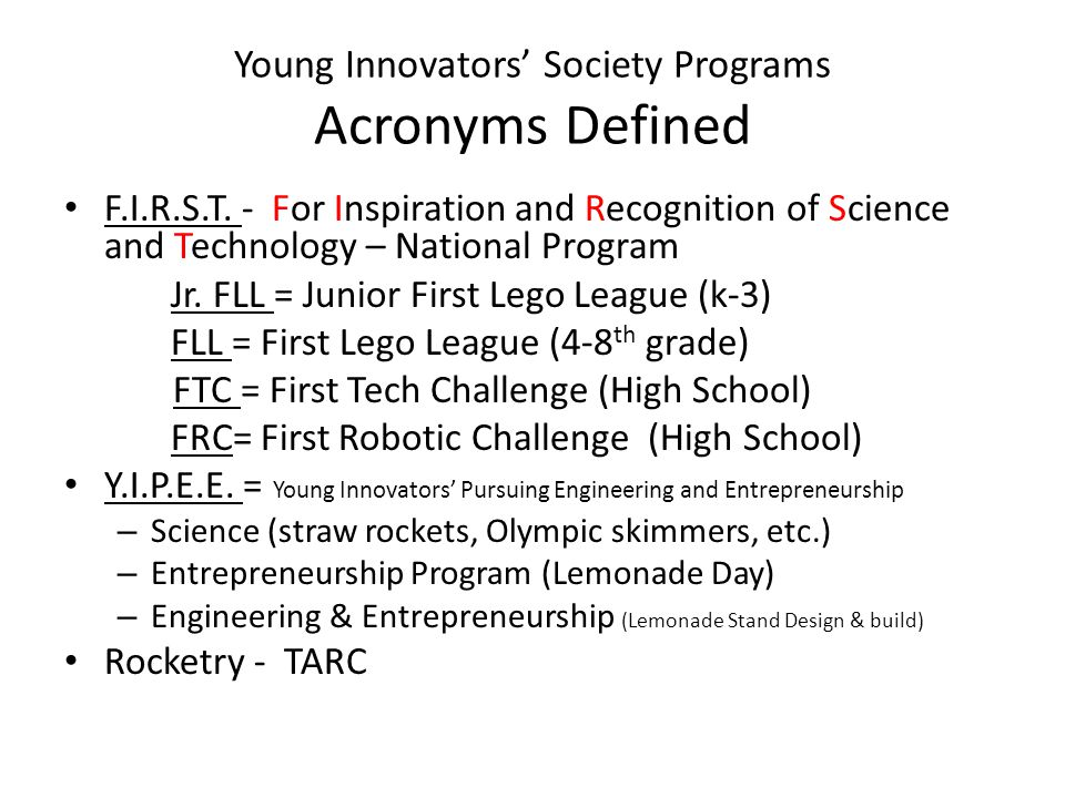 Young Innovators' Society Programs Acronyms Defined