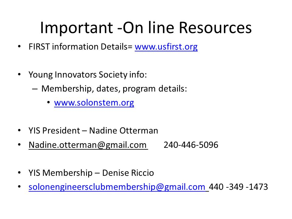 Important -On line Resources