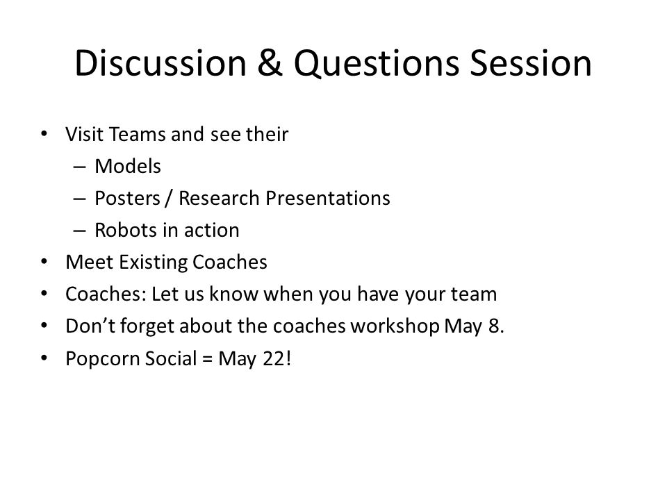 Discussion & Questions Session