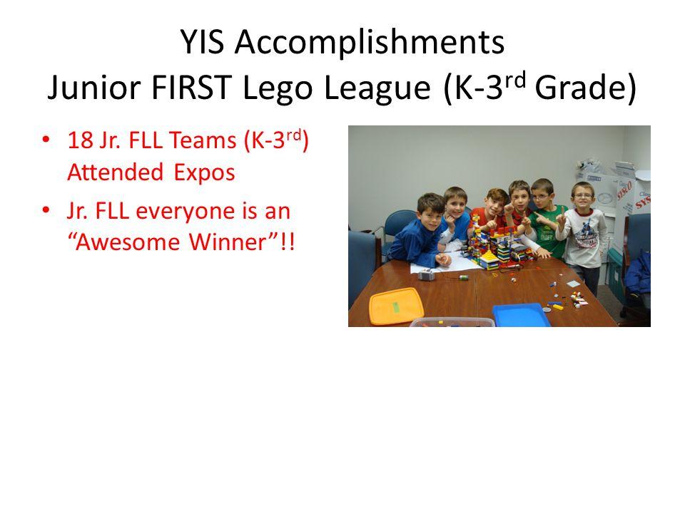 YIS Accomplishments Junior FIRST Lego League (K-3rd Grade)