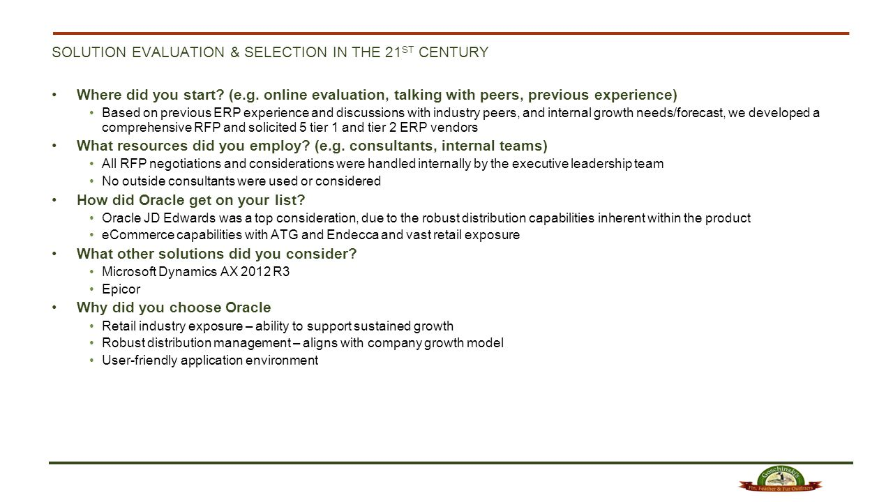 Solution evaluation & selection in the 21st century