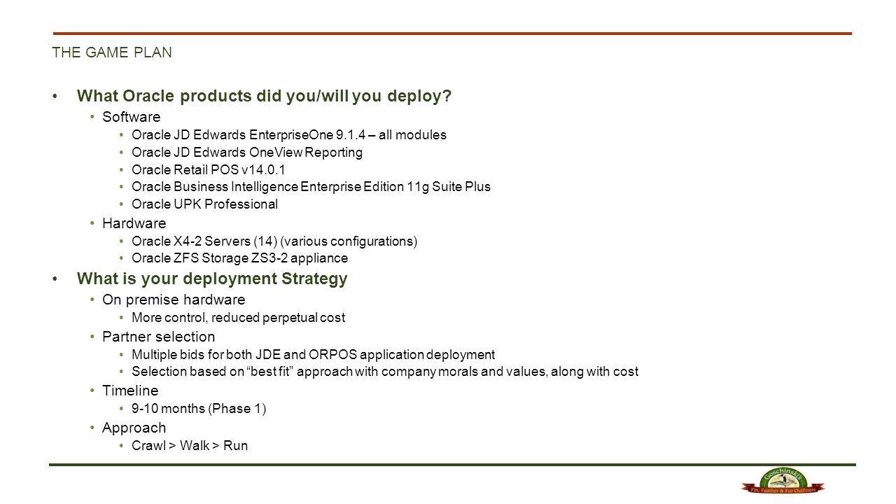 What Oracle products did you/will you deploy