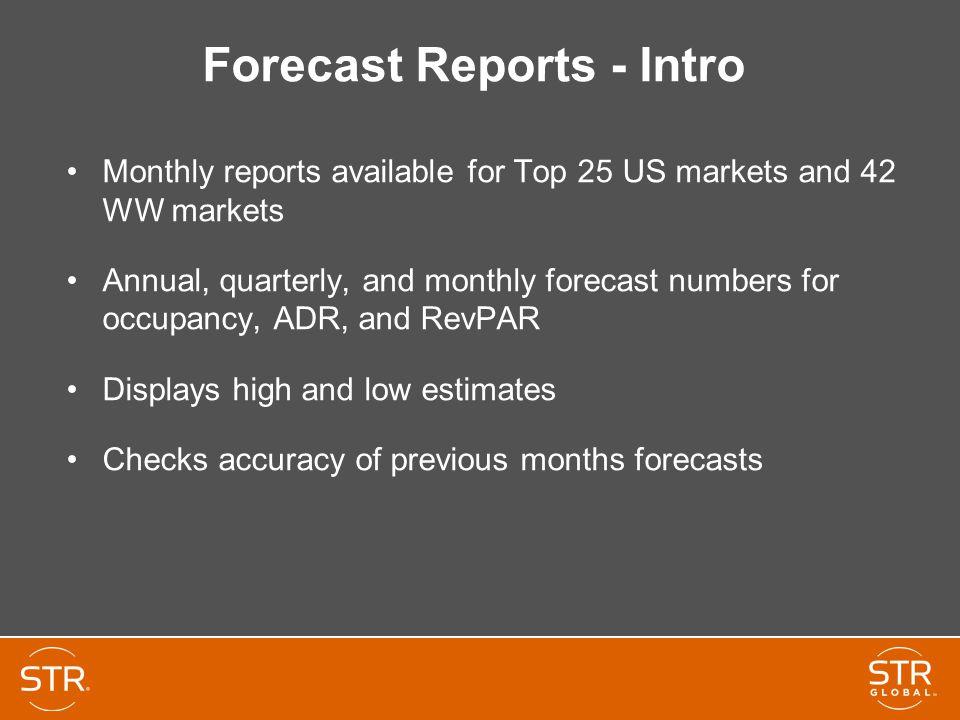 Forecast Reports - Intro