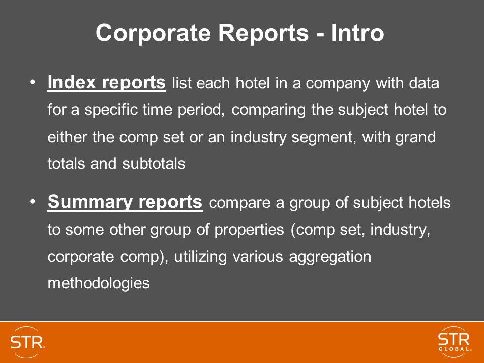 Corporate Reports - Intro