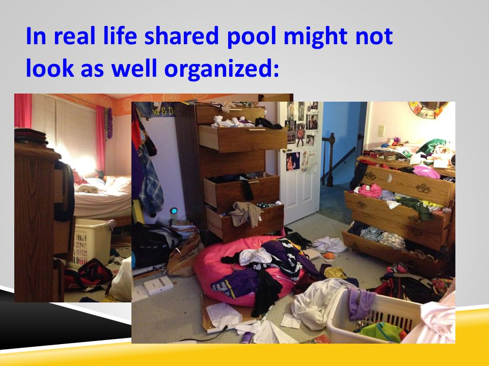 In real life shared pool might not look as well organized: