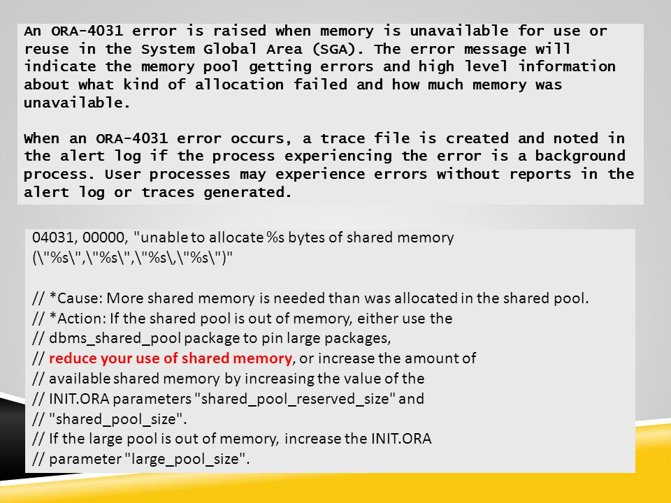// *Action: If the shared pool is out of memory, either use the