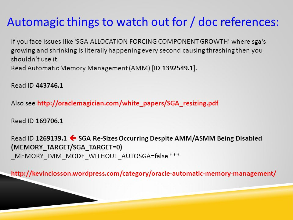 Automagic things to watch out for / doc references: