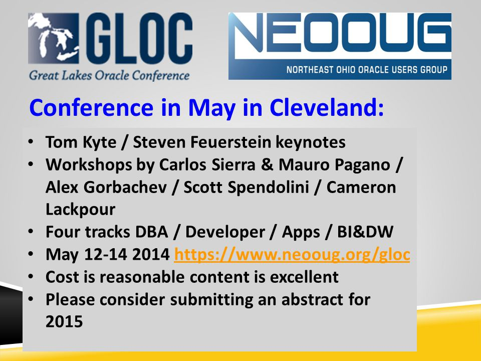 Conference in May in Cleveland: