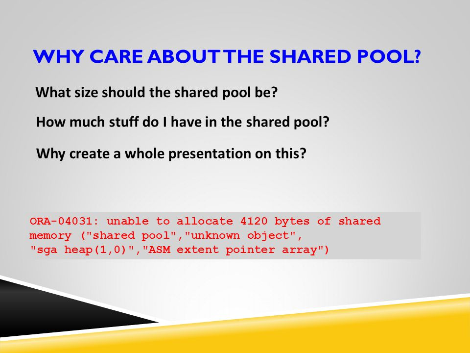 WHY care ABOUT THE SHARED POOL