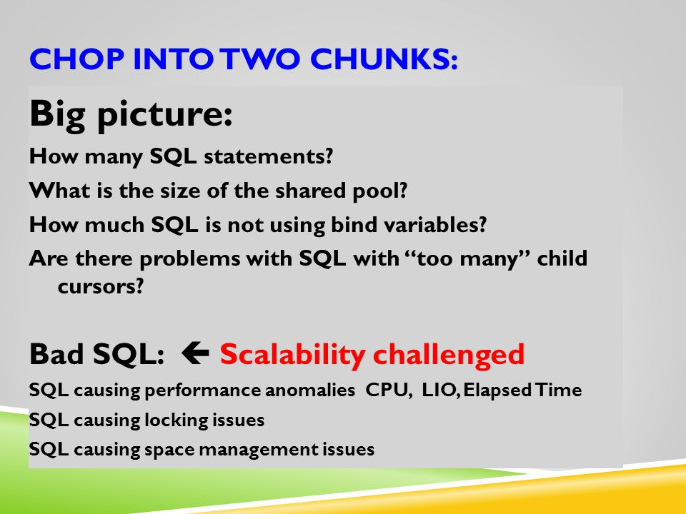 Big picture: CHOP into two CHUNKS: Bad SQL:  Scalability challenged