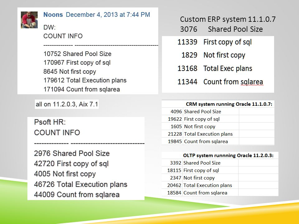 Custom ERP system 11.1.0.7 3076 Shared Pool Size