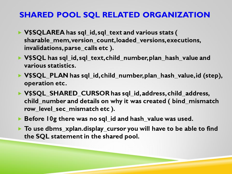 Shared pool SQL related organization