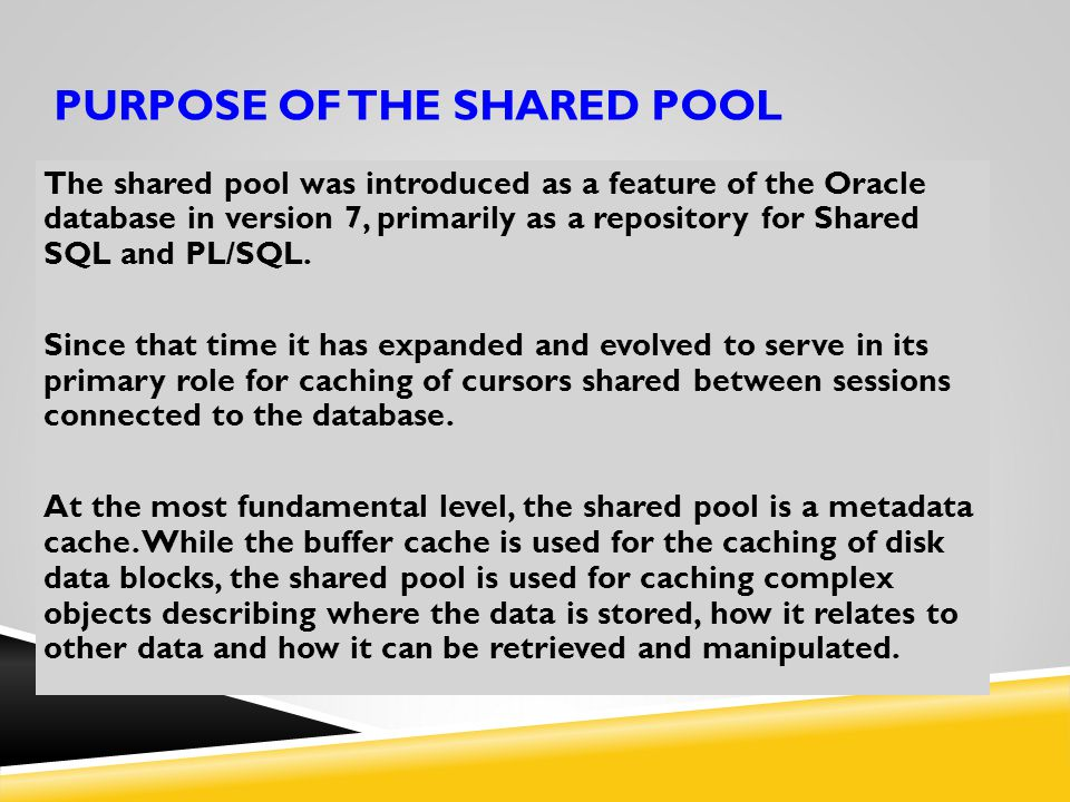 Purpose of the Shared Pool