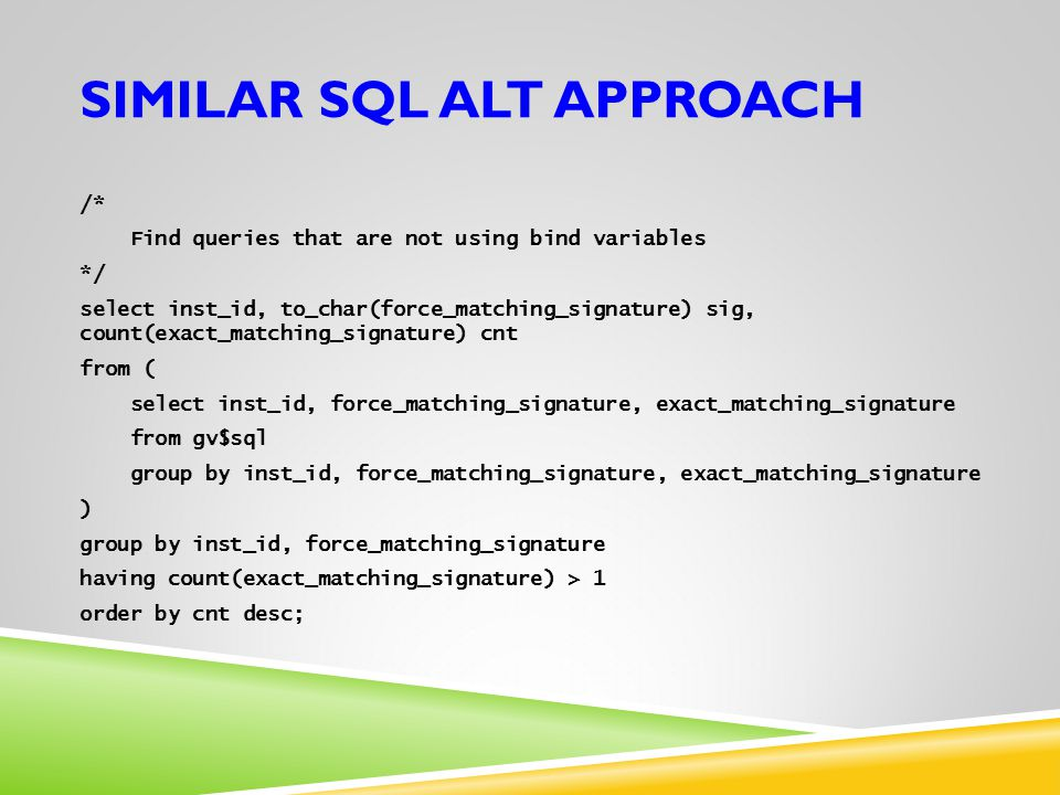 Similar SQL ALT approach
