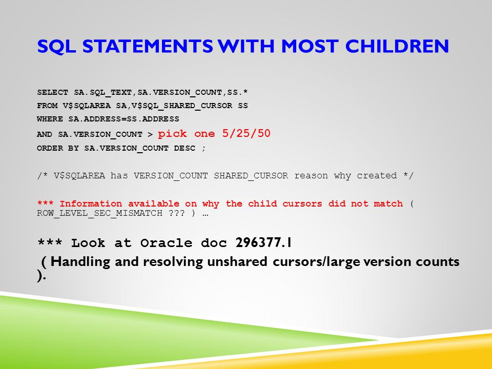 SQL statements with most children