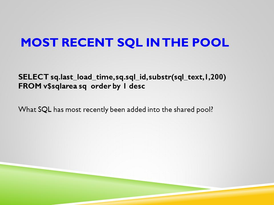 Most recent SQL in the pool