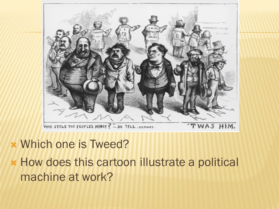Which one is Tweed How does this cartoon illustrate a political machine at work