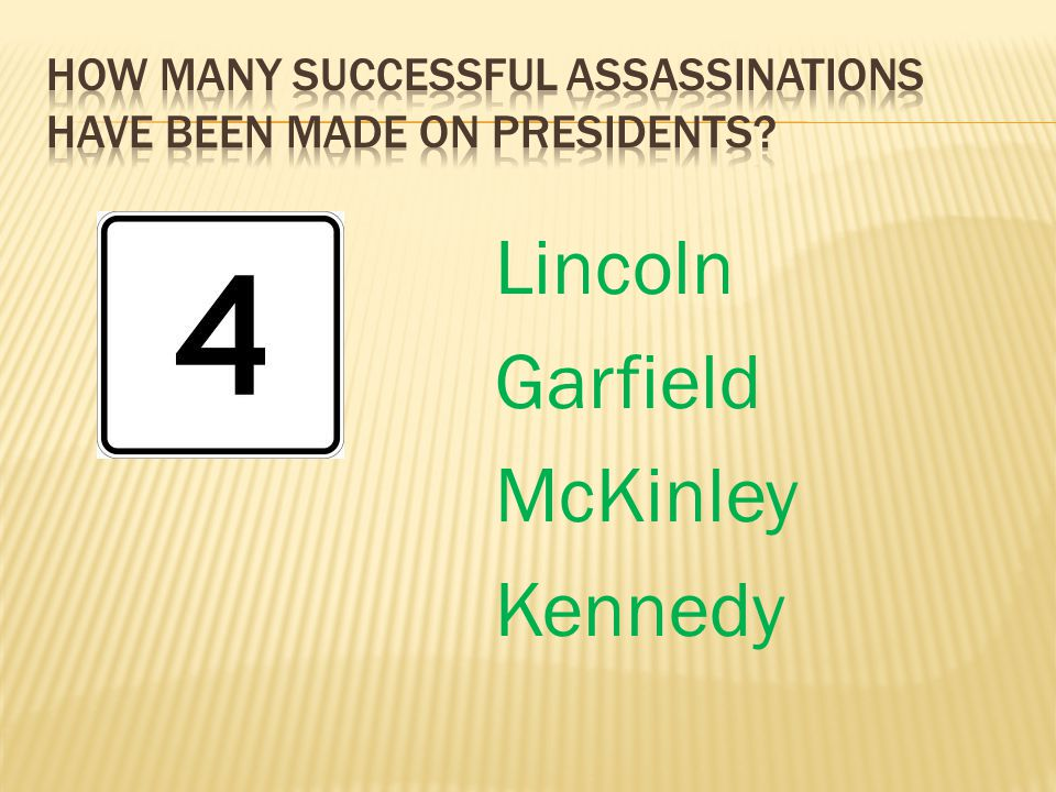 How many successful assassinations have been made on presidents