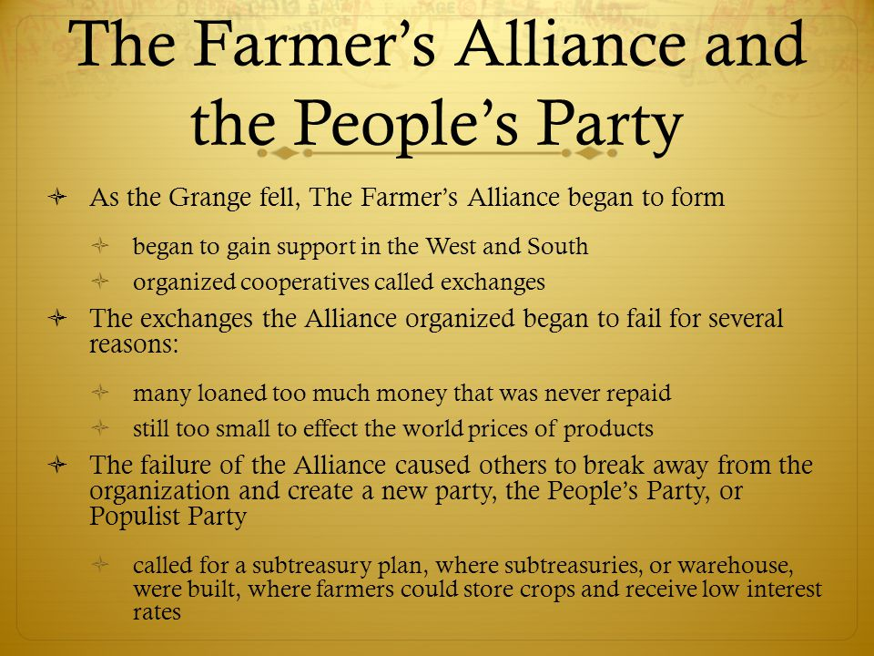 The Farmer's Alliance and the People's Party