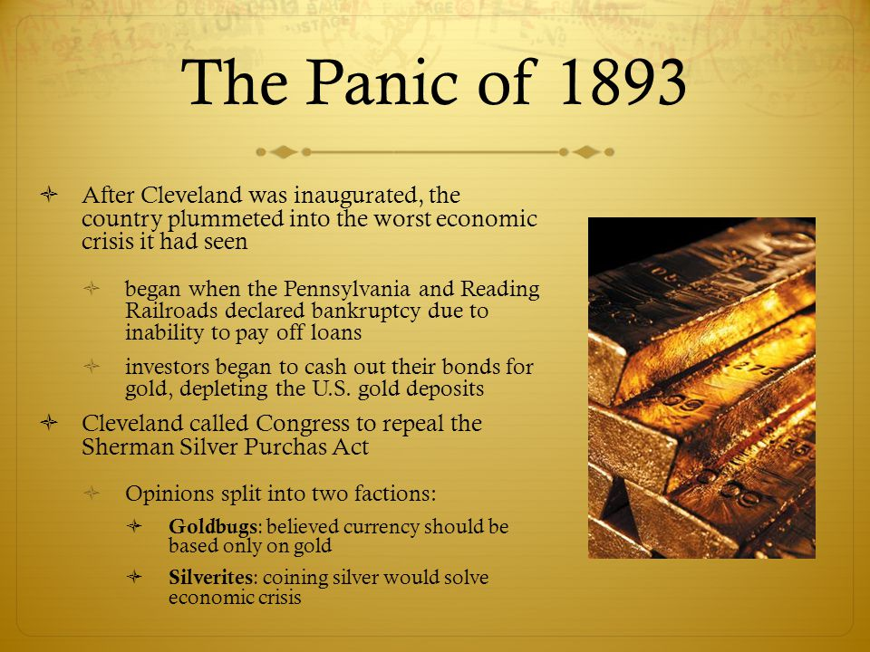 The Panic of 1893 After Cleveland was inaugurated, the country plummeted into the worst economic crisis it had seen.