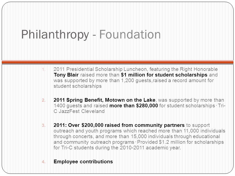 Philanthropy - Foundation