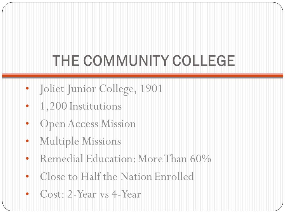 THE COMMUNITY COLLEGE Joliet Junior College, 1901 1,200 Institutions