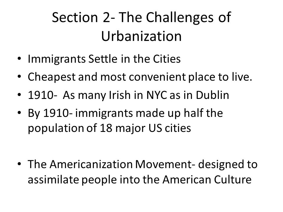 Section 2- The Challenges of Urbanization