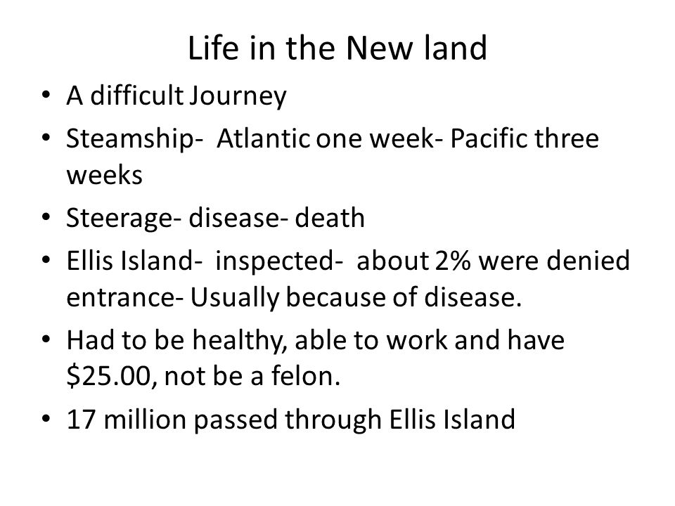 Life in the New land A difficult Journey