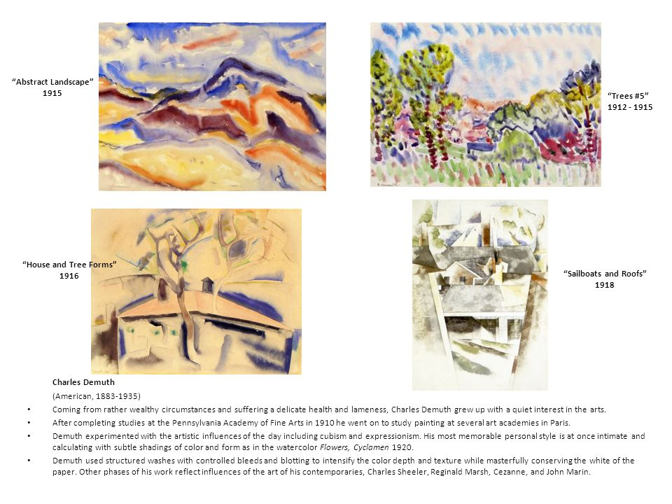 Abstract Landscape 1915. Trees #5 1912 - 1915. House and Tree Forms 1916. Sailboats and Roofs