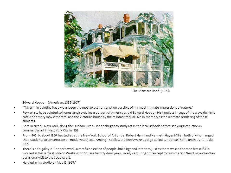 The Mansard Roof (1923) Edward Hopper (American, 1882-1967)