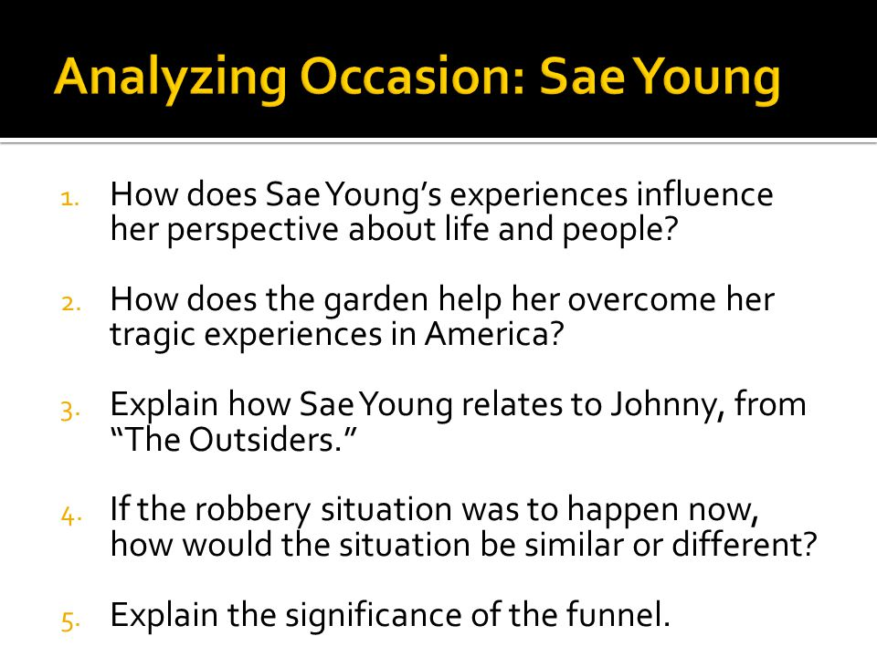 Analyzing Occasion: Sae Young