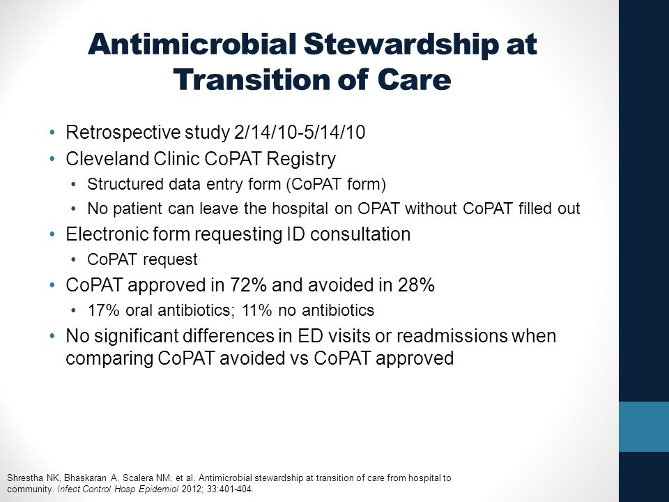 Antimicrobial Stewardship at Transition of Care