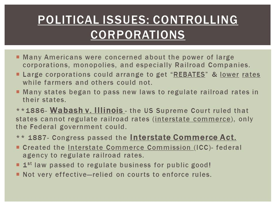Political Issues: Controlling corporations