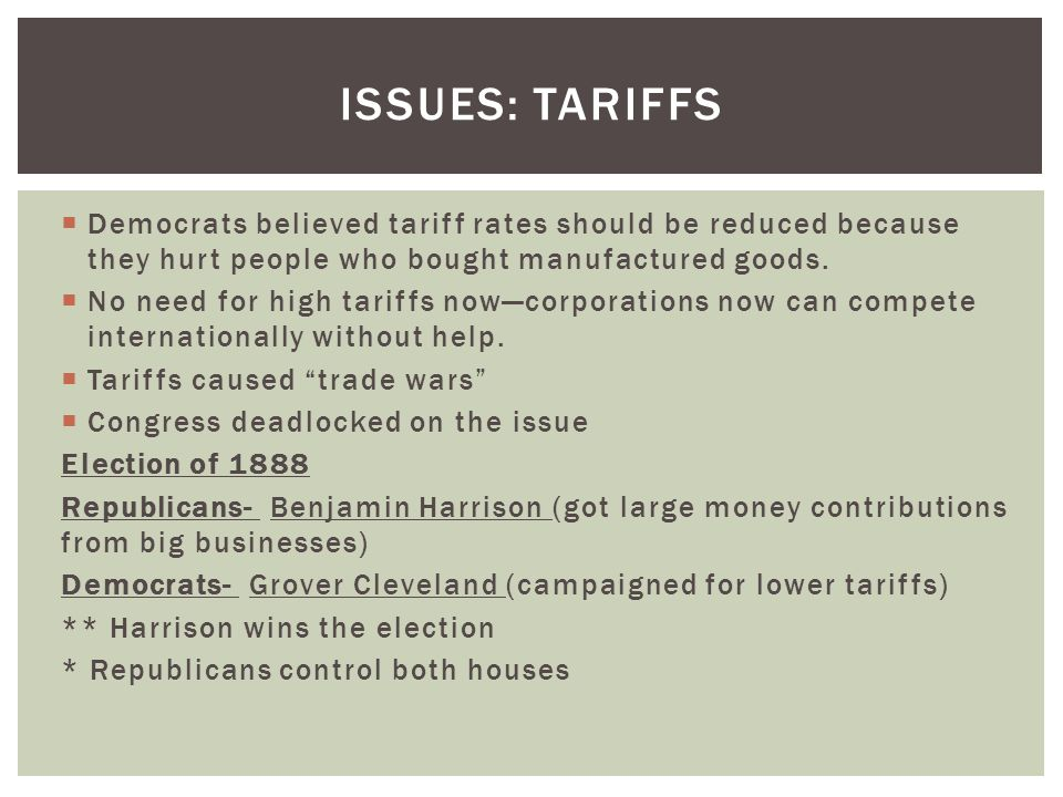 Issues: Tariffs Democrats believed tariff rates should be reduced because they hurt people who bought manufactured goods.
