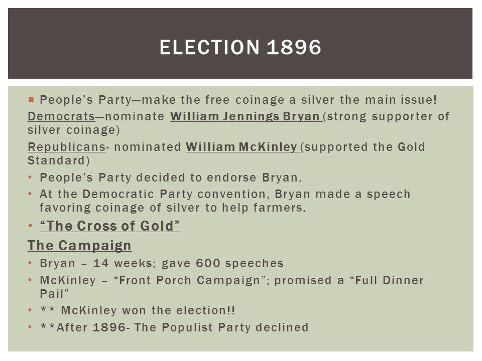Election 1896 The Cross of Gold The Campaign