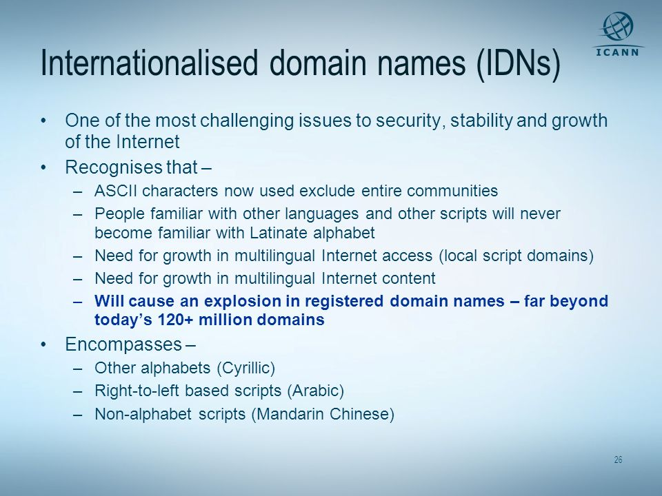 Internationalised domain names (IDNs)