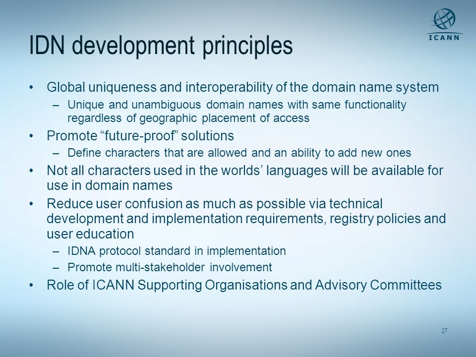 IDN development principles