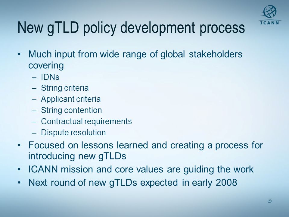 New gTLD policy development process
