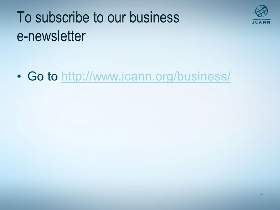 To subscribe to our business e-newsletter