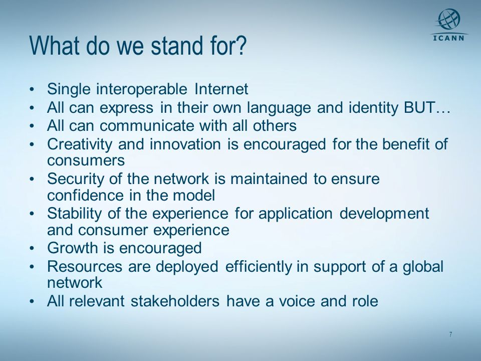 What do we stand for Single interoperable Internet